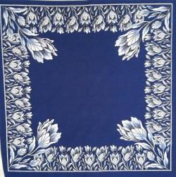 Blauwe zakdoek - tulpen - 42 x 42 cm