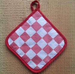 pannenlap - rood geblokt - 17 x 17 cm