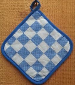 pannenlap - blauw geblokt - 17 x 17 cm