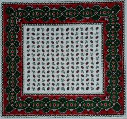 Rode zakdoek - bloemen - 52 x 52 cm