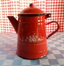 koffiekan - rood & bloemen - 1 liter