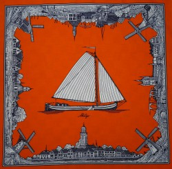 Oranje zakdoek - zeilboot & molens - 60 x 60 cm