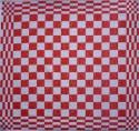 keukendoek/handdoek - rood geblokt - 50 x 50 cm (rood-wit)