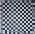 keukendoek/handdoek - donkerblauw geblokt - 50 x 50 cm (blauw-wit)