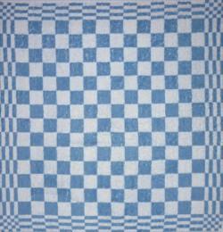 keukendoek/handdoek - lichtblauw geblokt - 50 x 50 cm (lichtblauw-wit)