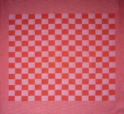 theedoek/pompdoek - rood geblokt - 65 x 65 cm