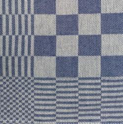 theedoek/pompdoek - donkerblauw geblokt - 65 x 65 cm