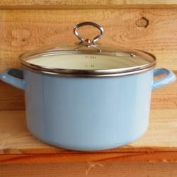kookpan - AMSTERDAM - lichtblauw & creme - 5,5 liter - lichtblauw & creme - glazen deksel