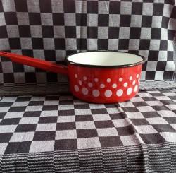 steelpan - rood & witte stippen - 1 liter