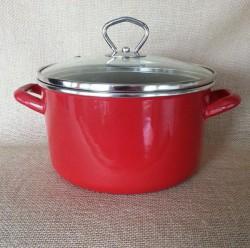 kookpan - JANNEKE  - 2,5 liter - donkerrood - glazen deksel
