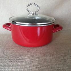 kookpan - JANNEKE  - 2 liter - donkerrood - glazen deksel