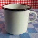 beschadigde - drinkmok - wit met zwarte rand - 7 cm