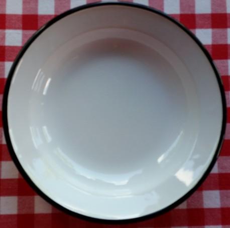 diep bord - wit met zwarte rand - 22 cm