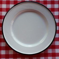 beschadigde - dinerbord - wit met zwarte rand - 24 cm