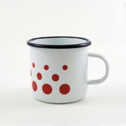 drinkmok - wit & rode stippen - 8 cm