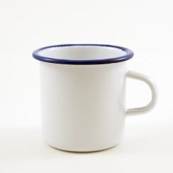 drinkmok - wit met zwarte rand - 7 cm