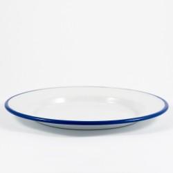 plat bord - wit met blauwe rand - 24 cm