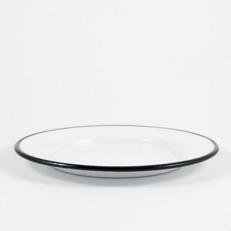 plat bord - wit met zwarte rand - 24 cm