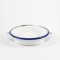 serveerbordje gebakken ei / kinderbordje - BILLY - wit met donkerblauwe rand - 14 cm