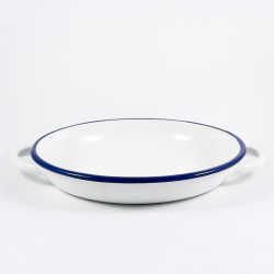 diep bord met oren / serveerschaal - BILLY - wit met donkerblauwe rand - 22 cm