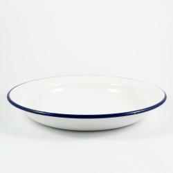 diep bord - BILLY - wit met donkerblauwe rand - 23 cm