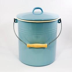 emmer - AMSTERDAM - lichtblauw & creme - 12 liter - inclusief deksel