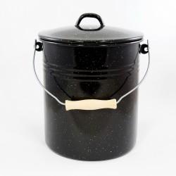 emmer - zwart & spikkeltjes - 12 liter - inclusief deksel