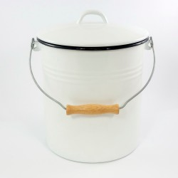 emmer - wit met zwarte rand - 12 liter - inclusief deksel