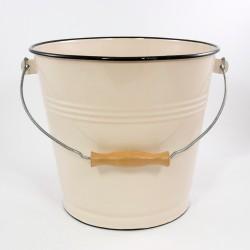 emmer - creme met zwarte rand - 12 liter