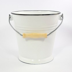 emmer - wit met zwarte rand - 12 liter