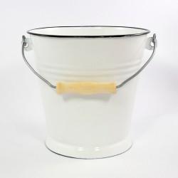 emmer - wit met zwarte rand - 5,5 liter
