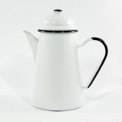 koffiekan - wit met zwarte rand - 1,2 liter - zware kwaliteit