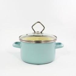 kookpan - AMSTERDAM - lichtblauw & creme - 1,5 liter - lichtblauw & creme - glazen deksel