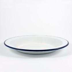 beschadigd bord - wit met donkerblauwe rand - 24 cm