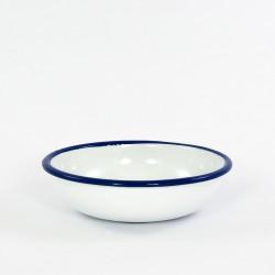 beschadigd - schaaltje/kom - wit met blauw rand - laag model