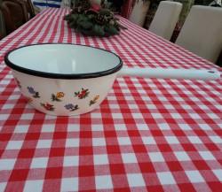 steelpan - wit & bloemetjes - 1,5 liter - met schenktuit