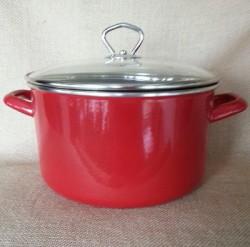 kookpan - JANNEKE  - 4,5 liter - donkerrood - glazen deksel