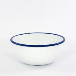 beschadigd - schaaltje/kom - wit met blauwe rand - hoog model