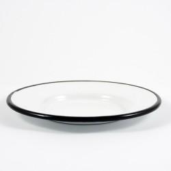 schoteltje - wit met zwarte rand - 13 cm