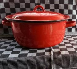 kookpan - rood & spikkeltjes - 5 liter