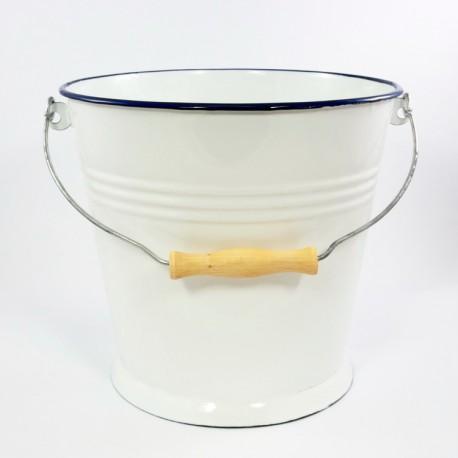 emmer - wit met donkerblauwe rand - 12 liter