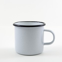 drinkmok - wit & grijze spikkeltjes - 8 cm