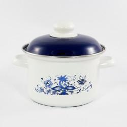 beschadigde - kookpan - wit & blauwe bloemen - 3,5 liter