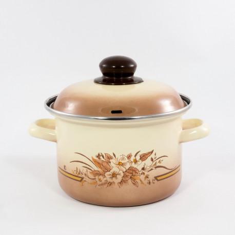 kookpan - bruin & bloemen - 2 liter