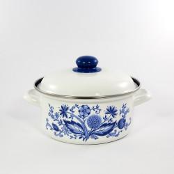 beschadigde - kookpan - wit & blauwe bloemen - 2,5 liter