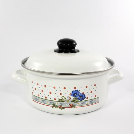 kookpan - wit & blauwe/rode bloemen - 2,5 liter
