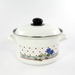 kookpan - wit & blauwe/rode bloemen - 1,5 liter