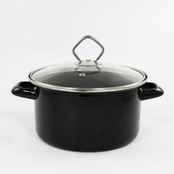 kookpan - zwart- 2,5 liter - glazen deksel
