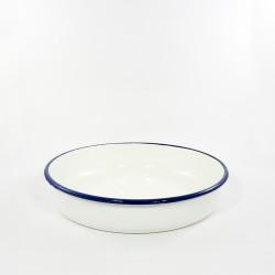 ovenschaal rond - HOLLAND- wit met een blauwe rand - 28 cm
