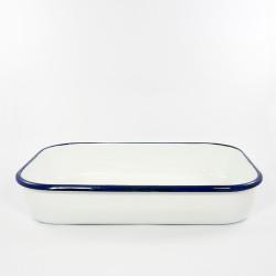 beschadigde - ovenschaal - HOLLAND - wit met donkerblauwe rand - 36cmx23cm